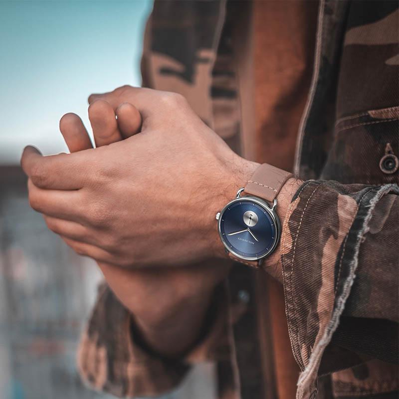 Style Uhr Breakwater Line Navy Sunray Edelstahl Lederarmband Mid Brown
