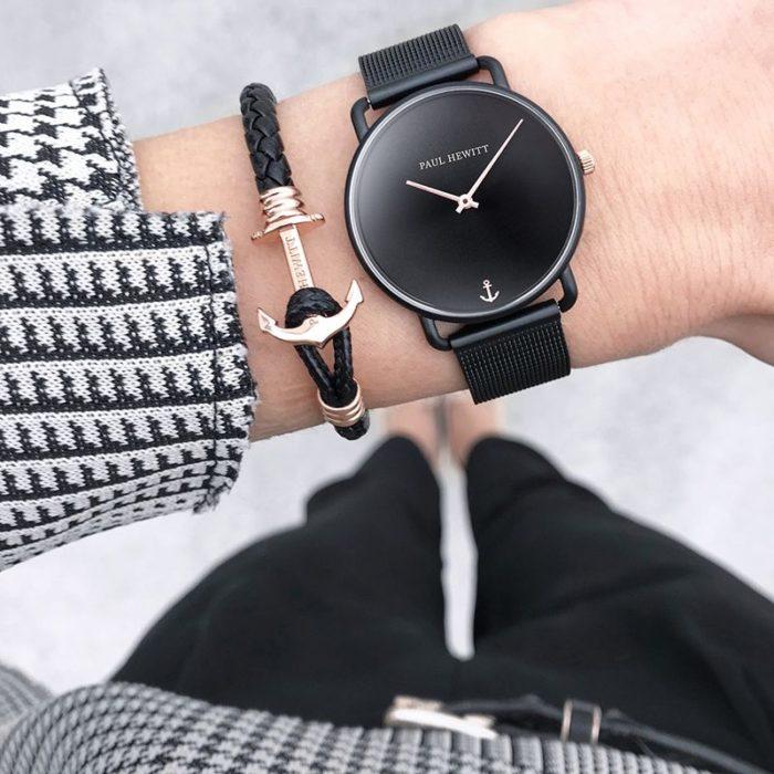 Style Uhr Miss Ocean Line Black Sunray Meshband IP Schwarz